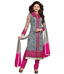 The Zeel Fashion grey Color gorgette Anarkali Salwar Suit Unstitched dress material
