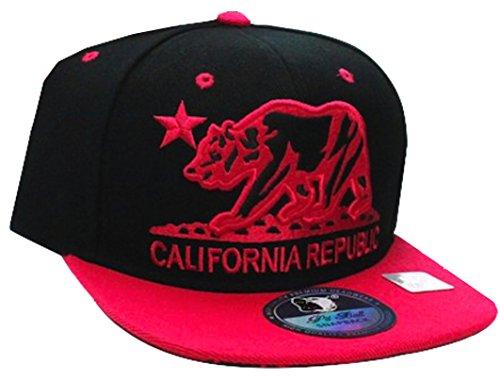 California Republic Flat Bill Visor Snapback Hat Cap - Multiple Colors (One Size, Black Fuschia)