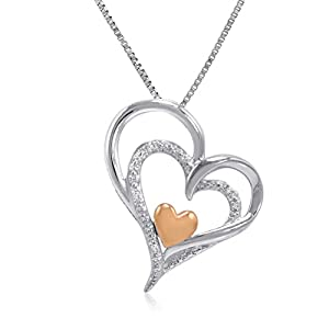 Sterling Silver and 14K Gold I am Loved Diamond Heart Pendant-Necklace