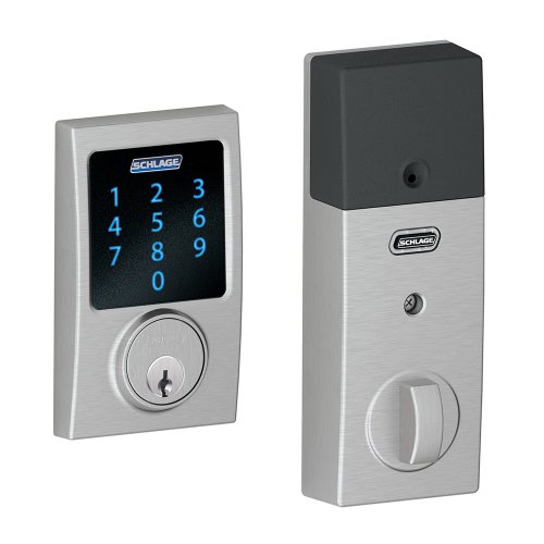 Schlage Connect Century Touchscreen Deadbolt with Built-In Alarm, Satin Chrome, BE469NXCEN626