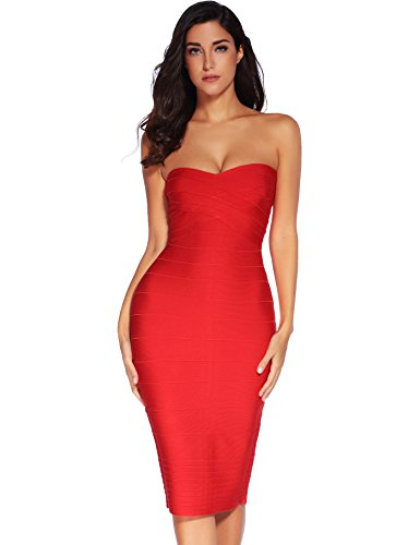Meilun Women's Rayon Strapless Below Knee Bandage Bodycon Party Dress (Large, Red)