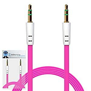 iTALKonline BlackBerry 8530 Hot Pink FLAT 3.5mm Gold Plated Jack to Jack Male AUX Auxiliary Stereo Jack Connection Cable Lead Wire