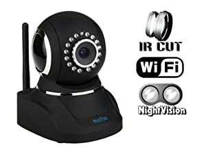 (Hot Sale) HooToo® HT-IP210F IP Wired/Wireless Network IP Camera, Motorized Pan/Tilt Viewing Angle (Horizontal: 320° & Vertical: 120°) Wi-Fi Connection, Two-way Audio Communication, Upgraded Night Vision with 16 Built-in IR Illuminators, IR Cut Filter Eliminates Washed-Out or Unreal Colors, Software Supports Up To 64 Expandable Cameras, Remote Control From Smart Phone, Tablet or Computer, Black