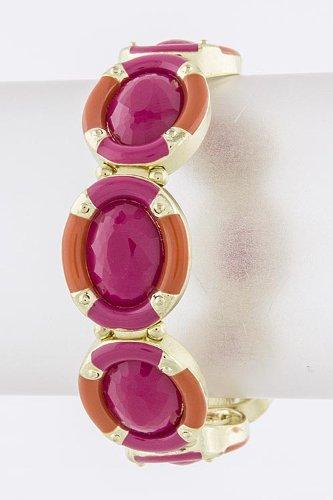 Trendy Fashion Jewelry Oval Frame Jewel Bracelet By Fashion Destination   (Fuchsia)