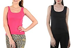 Lady Heart Women's Black & Pink Cotton Regular Strap Tank Top Camisole Free Size - S / M / L . Pack Combo of 2