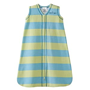 HALO SleepSack 100% Cotton Wearable Blanket, Green and Blue Stripe, Small