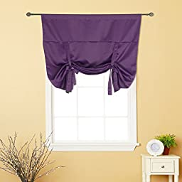 H.Versailtex Thermal Insulated Blackout Curtain Tie Up Window Shade (Rod Pocket Panel) - 42\