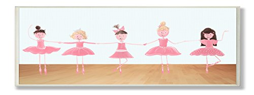 The Kids Room by Stupell Five Ballerinas Rectangle Wall Plaque
