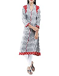 Unnati Silks Women Pracheen kala White and Black Pochampally malmal cotton ikkat woven Anarkali kurta