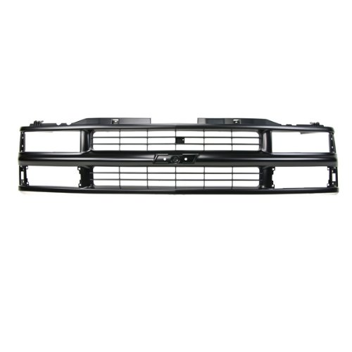 CarPartsDepot, Front Plastic Grill Grille Painted Flat Black Bar Frame w/ Composite Headlamp Replacement, 400-15157 GM1200239 15981092 (2002 Chevy Silverado 2500 Grill compare prices)