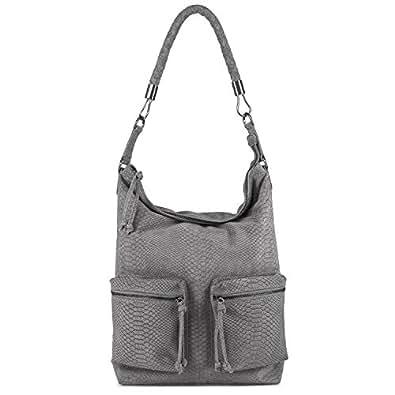 BACCINI sac bobo SOFIA - grand - sac porté épaule - sacoche Anaconda gris en cuir véritable