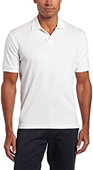 Perry Ellis Mens Rib Open Collar Knit Polo