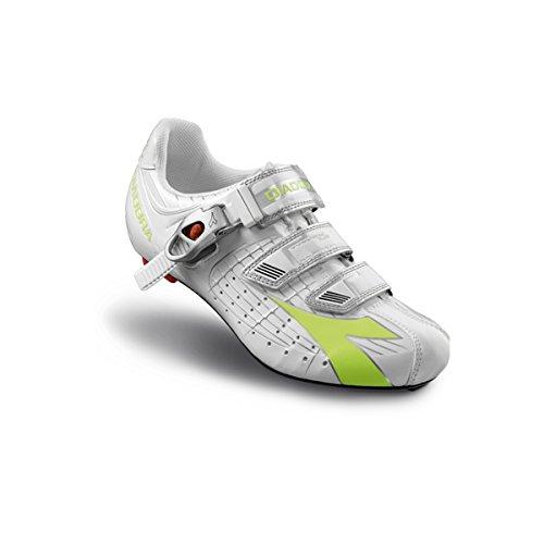 Diadora Women's Trivex Plus Road Cycling Shoe - 159741-C3771 (White/Lime - 39)