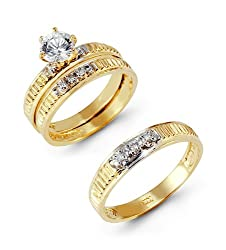Solitaire CZ Ribbed 14k Two Tone Gold Wedding Band Trio