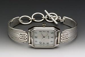 Silver Spoon Sterling Silver Art Deco Ladies MOP Watch Unique