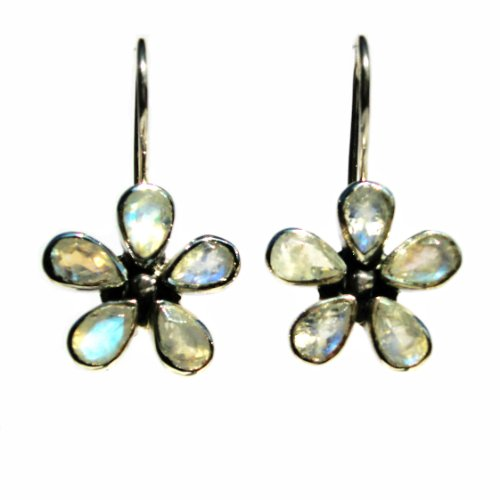 Franki Baker Iridescent Translucent Moonstone & Sterling Silver Flower Earrings