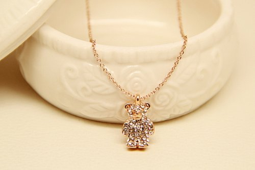 Tq Easily Bear Hollow Diamond Clavicle Short Swarovski Chain Rose Gold