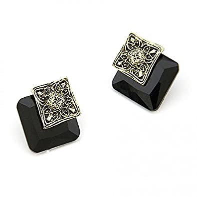 Elegant Black Square Studs at amazon