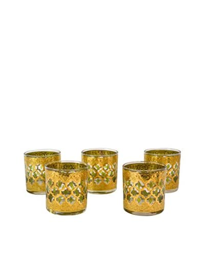 Patina Vie Vintage Set of 5 Fanciful Cocktail Glasses, Green/Gold