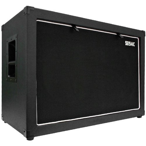 """Seismic Audio - 12"""" Guitar Speaker Cabinet Empty - 7 Ply Birch - 2X12 Speakerless Cab New 212 Black Tolex - Black Cloth Grill - Front Or Rear Loading Options"""