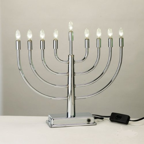 Silverplated Electric Menorah With Flickering Lights To Stimulate Real Candles