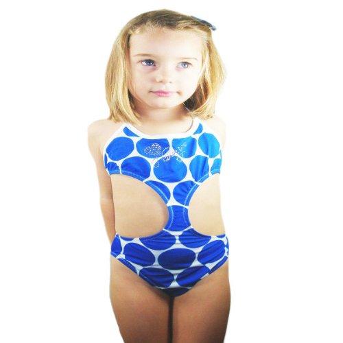 Pretty Blue Bubbles design girls' monokini with sparkly diamante detail