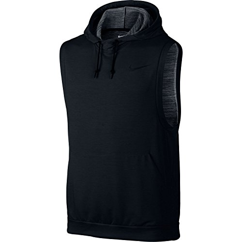 Nike Mens Dry Sleeveless Hoodie (Black,Large)