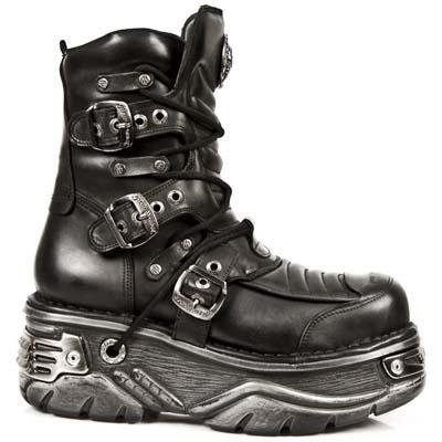 New Rock Metallic Boots Unisex - Black - Euro 36