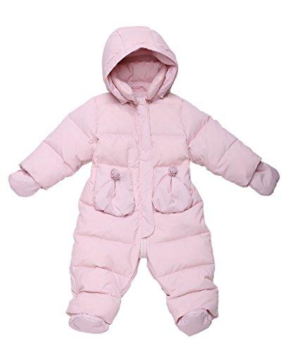 Oceankids rosa Giubbotto imbottito / tuta da neve in piuma d'oca con cappuccio rimuovibile e tasche a toppe, da bambino e bambina 18-24 Mesi