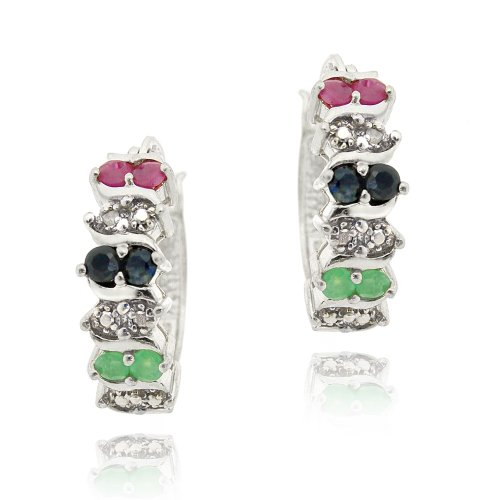 Sterling Silver Multi Color Gemstones & Diamond Accent Hoop Earrings