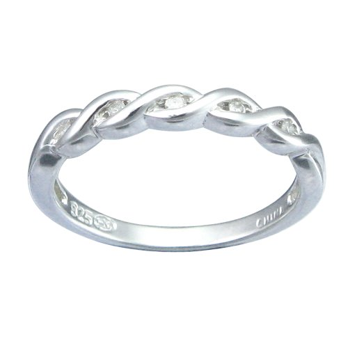 Children's Sterling Silver Diamond Accent Intertwining Wave Ring, Size 4