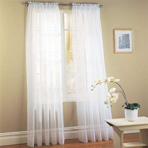 "DreamKingdom - 2 PCS Solid Sheer Window Curtains/Drape/Panels/Treatment Brand New 58""Wx84""L - White"