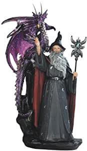 11 Inch Wizard with Purple Dragon Figurine
