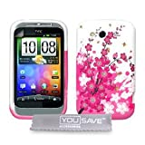 Pink And White Floral Bee Silicone Gel Case For The HTC Wildfire S With Screen Protectorby Yousave Accessories