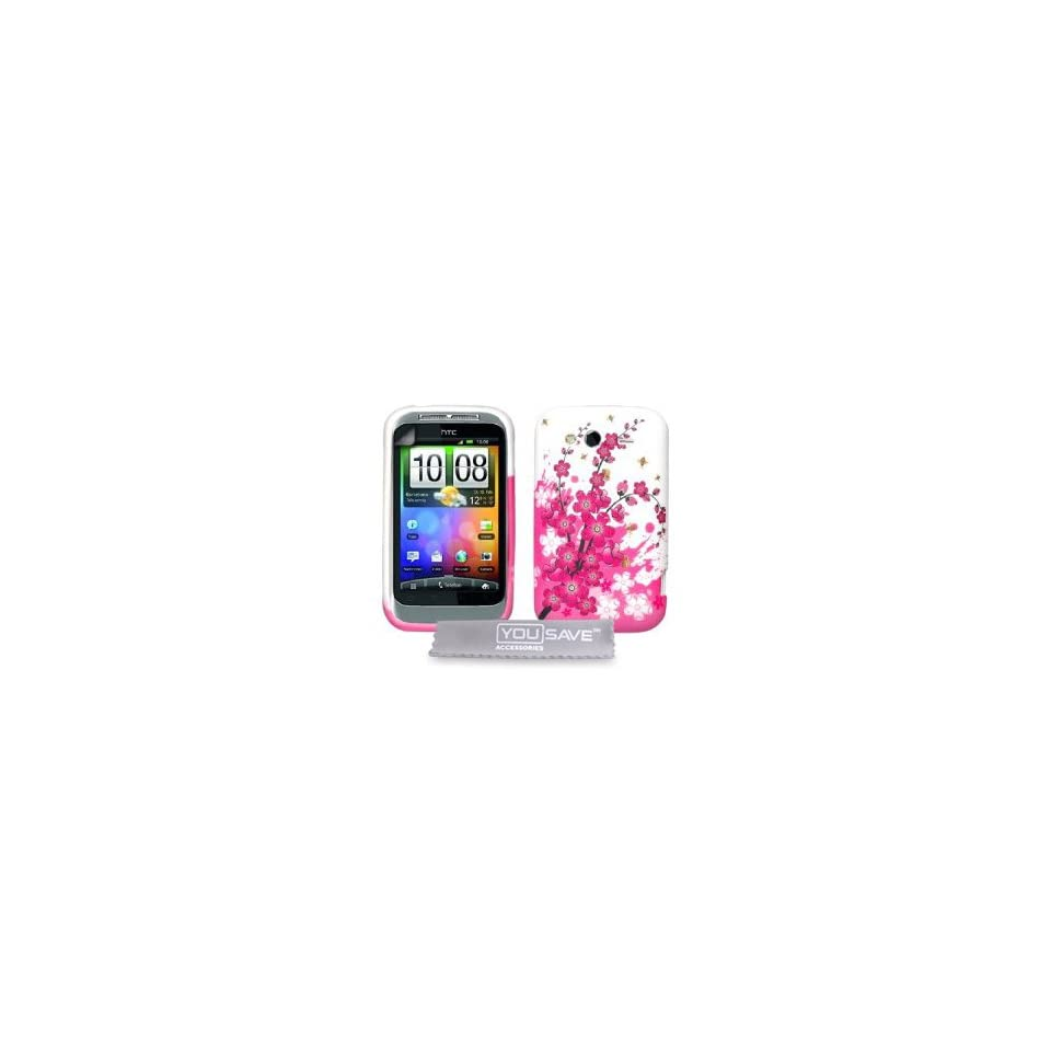 Brand New Htc Wildfire S Pink White Bee Floral Silicone Gel Case Cover Skin +