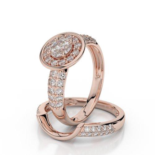 18 KT Rose Gold 0.56 Ct Diamond Wedding Bridal Ring Set