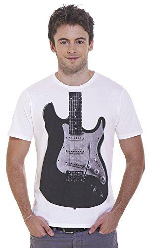 Retreez Classic Rock Electric Guitar Graphic Printed Unisex Men / Women T-Shirt - White - Medium