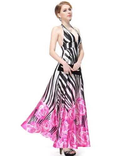 HE08093HP06, Hot Pink, 4US, Ever Pretty Elegant Halter Neckline Open Back Printed Evening Dress 08093