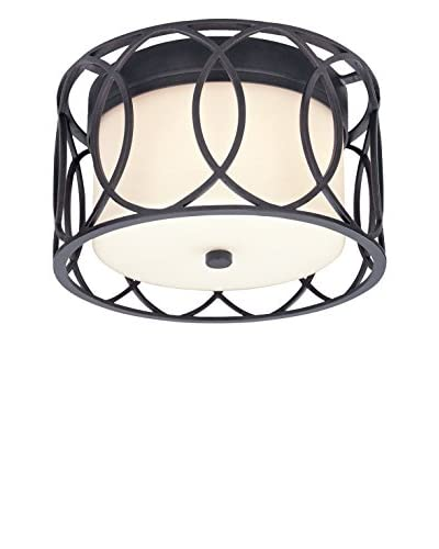 Shorewood Lighting Carter 2-Light Ceiling Flush Mount, Deep Bronze/Frosted