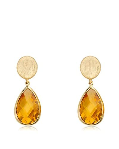 Riccova Arctic Mist 14K Gold Plated Nugget and Faceted Citrine Teardrop Dangle Earring