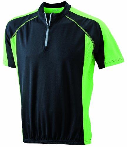 James-Nicholson-Herren-Kurzarm-Bike-T-shirt-schwarz-blacklime-green-Large