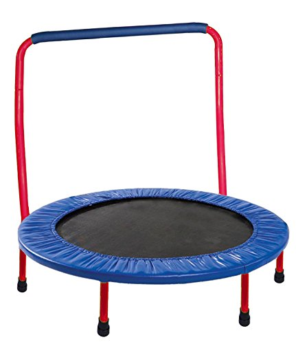 """Red Portable And Foldable 36"""" Dia. Durable Construction Safe Kids Trampoline With Padded Frame Cover And Handle"""