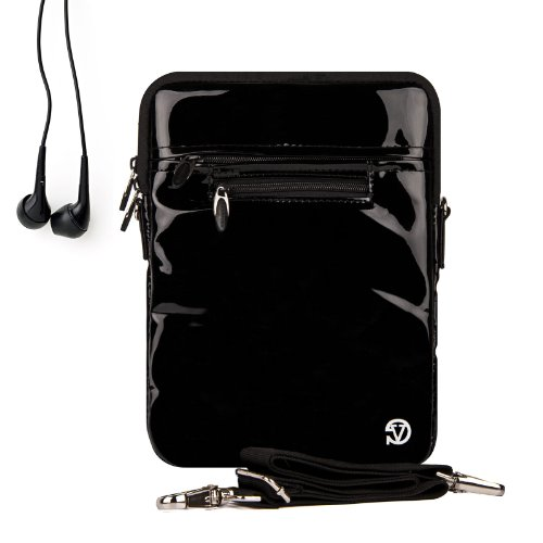 Black Gloss Hydei Case, Fits Your Kindle Tablets And Has Extra Pockets For All Your Accessories Needs + Universal Earbuds!!!