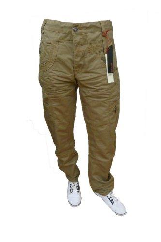 Mens Eto 9901 Em282 Camel Designer Branded Curved Leg Jeans Trousers (34W X 32L, CAMEL)