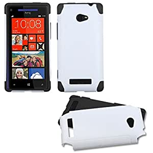 MyBat HTCWIN8XHPCFSSO602NP Hybrid Fusion Protective Case for HTC Windows Phone 8X - 1 Pack - Retail Packaging - White/Black Frosted