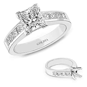 3.30 Ct. tw. Platinum Channel-Set Engagement Setting with Princess Diamond