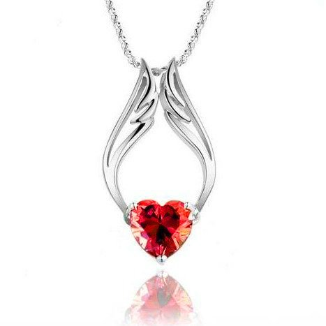"Fashion White Rhodium Plated Synthetic Stone Heart Red Angel Wings Pendant with Free 18"" Necklace Chain"