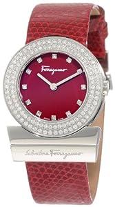 Salvatore Ferragamo Women's F56SBQ9906i S006 Gancino Burgundy Genuine Lizard Leather Diamond Watch from Salvatore Ferragamo