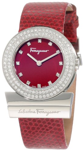 Ferragamo Women's F56SBQ9906i S006 Gancino Burgundy Genuine Lizard Leather Diamond Watch