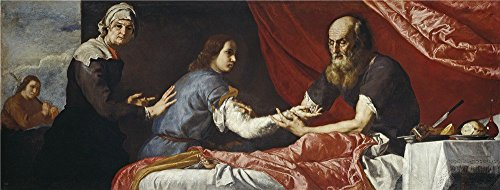 The Polyster Canvas Of Oil Painting 'Ribera Jose De Isaac And Jacob 1637 ' ,size: 8 X 21 Inch / 20 X 54 Cm ,this Amazing Art Decorative Canvas Prints Is Fit For Home Theater Decoration And Home Decoration And Gifts (Primitive Ceiling Fan Blades compare prices)